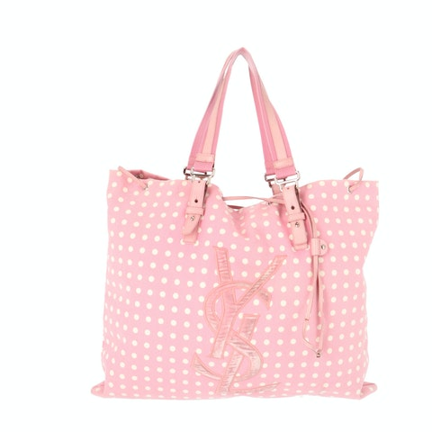 Pink Dotted Canvas Tote