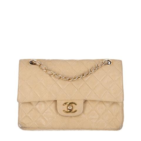 Chanel Beige Small Lambskin Classic Double Flap Bag