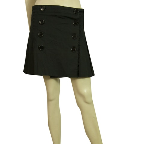Burberry Pleated Black Double breasted Cotton Mini skirt engraved buttons size 8