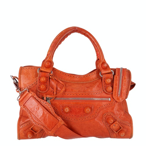 Balenciaga Orange Lambskin City Giant 21