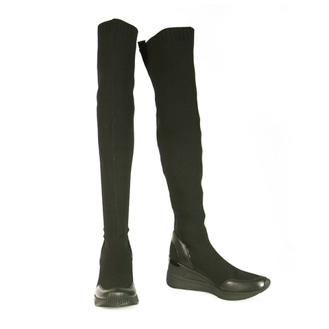 Michael Kors Grover Black Stretch Sneaker w. Sock Over The Knee Boots Shoes 37