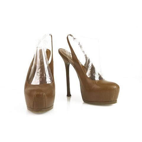 YSL Tribute Brown Leather Slingback Platform Heels