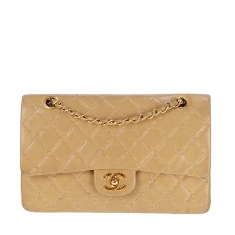 Beige Medium Lambskin Classic Double Flap Bag