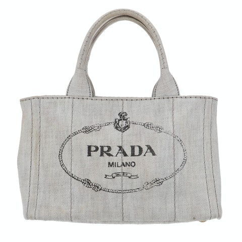 Prada Grey Printed Canvas Tote
