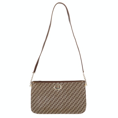 Brown Jacquard Canvas Shoulder Bag