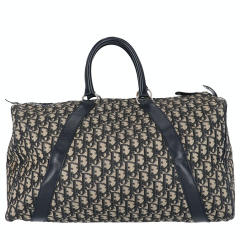 Navy Jacquard Canvas Boston Bag