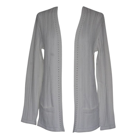 White viscose trimmed long sleeve cardigan