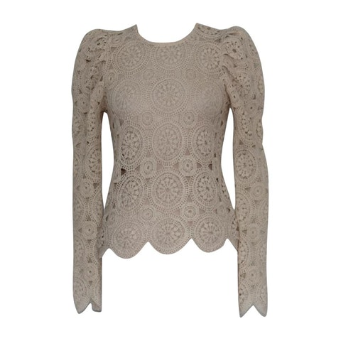 Beige crochet long sleeve shirt