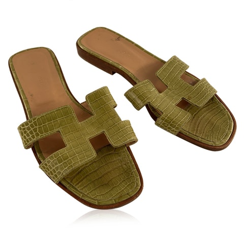 Hermes Green Leather Oran Flat Slide Sandals Slip On Shoes Size 36