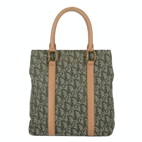 Dior Green Jacquard Canvas 'D' Tote
