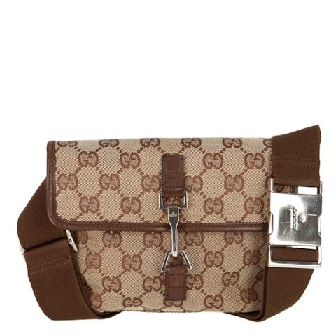 Brown Diamante Canvas Belt Bag
