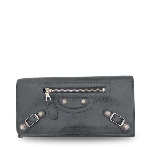 Balenciaga Grey Lambskin Continental Wallet