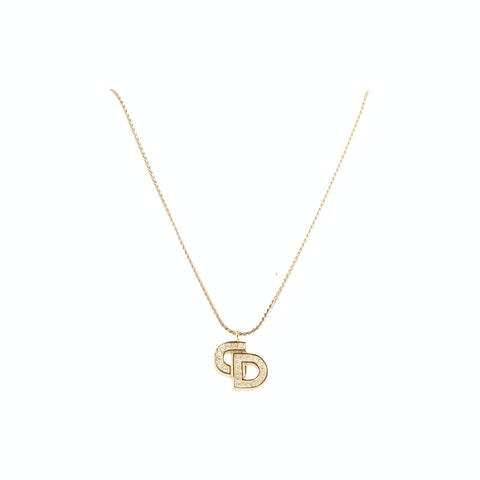 Gold-Toned 'CD' Logo Necklace