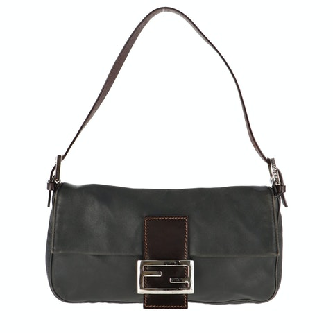 Grey Leather Baguette
