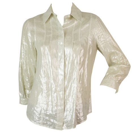 Off White Linen Shiny Button Down Shirt Top