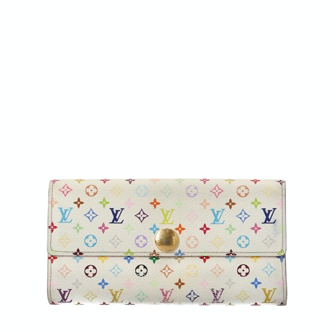 White Multicolor Monogram Canvas Long Wallet