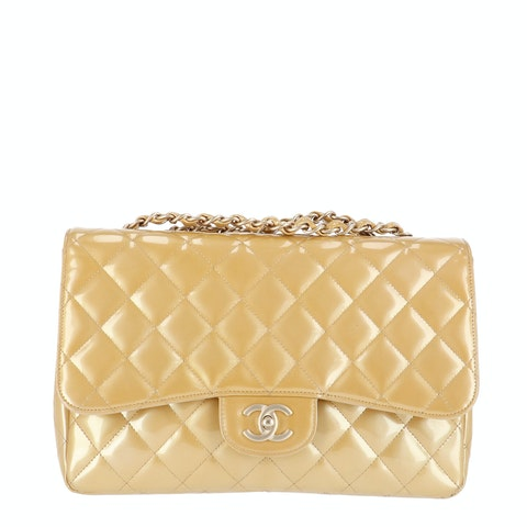 Gold Jumbo Patent Classic Single Flap Bag