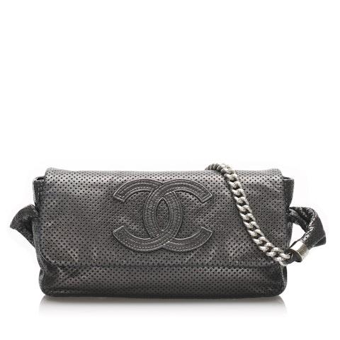 CC Perforated Leather Shoulder Bag