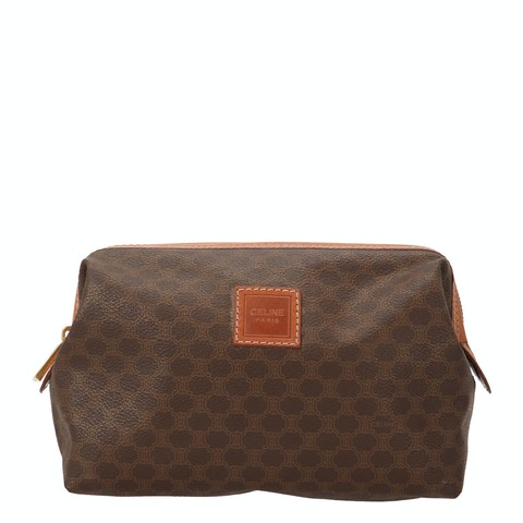 Brown Macadam Coated Canvas Cosmetic Pouch