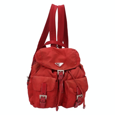 Red Nylon Small Backpack