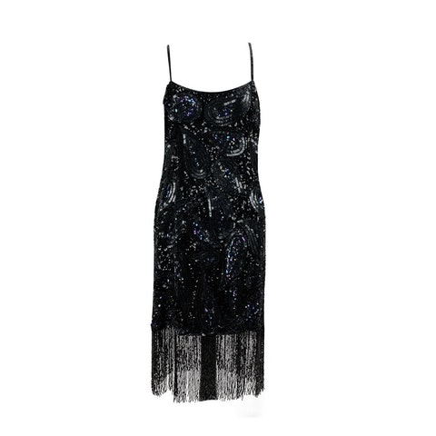 Vintage Black Beaded Fringed Flapper Dress