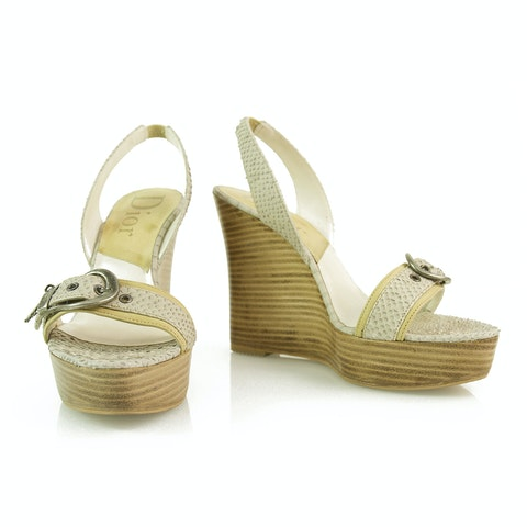 Off White Snake Leather Wooden Wedge Sandal Shoes Slingback
