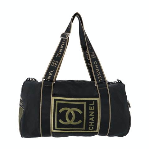 Black Canvas 'CC' Sport Duffle Bag