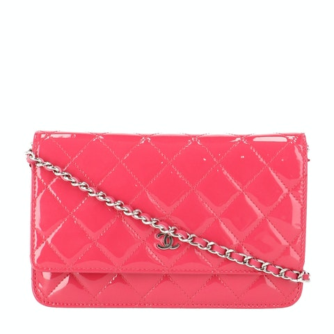 Pink Patent Leather Wallet on Chain