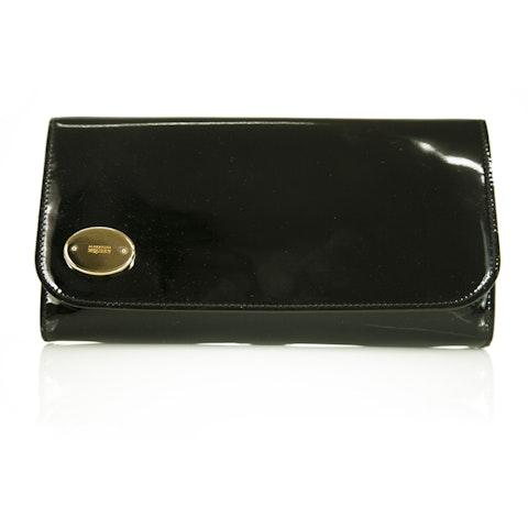 Black Patent Leather  Flap Top Clutch Evening Bag Handbag