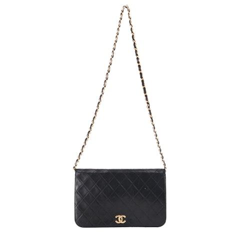 Black Lambskin Classic Full Flap Bag