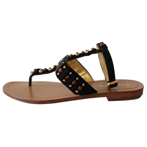 Black Suede and Gold sandals