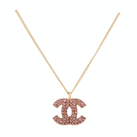 Gold-Toned 'CC' Rhinestone Necklace