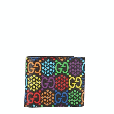 Multicolor Psychedelic Coated Canvas Bifold Wallet