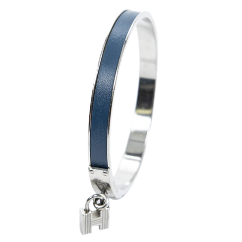 Kelly Lock Bangle  in Navy Blue/Silver  Stainless Steel without Nickle