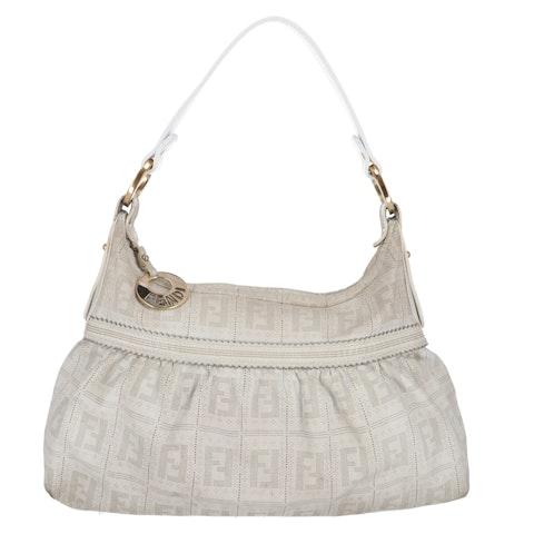 White Zucca Leather Chef Shoulder Bag