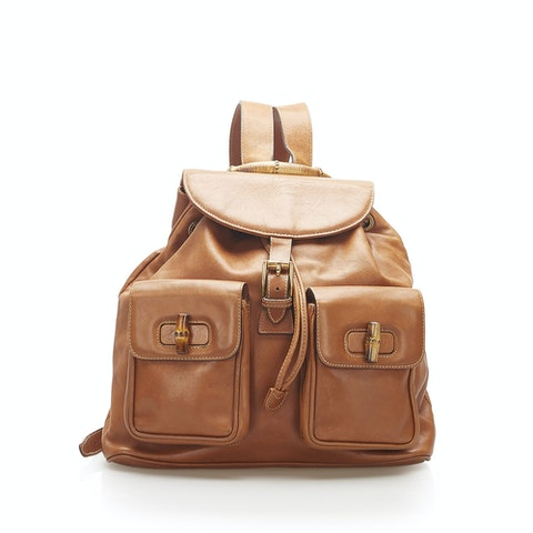 Bamboo Drawstring Leather Backpack