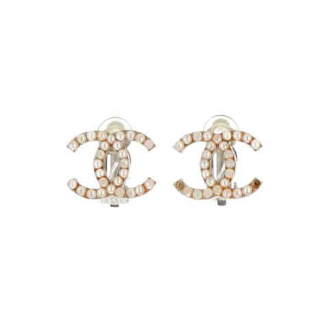 Silver-Toned 'CC' Clip On Earrings