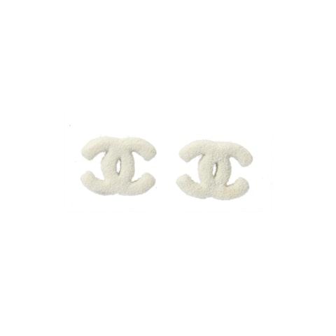 Chanel White Large 'CC' Logo Earrings