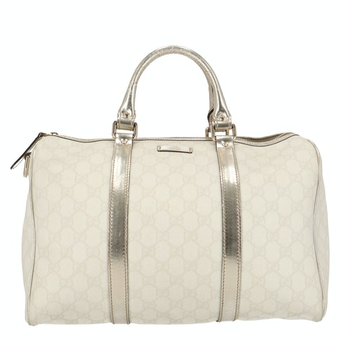 White Diamante Coated Canvas Bowling Bag
