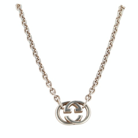 Silver-Toned 'GG' Logo Necklace