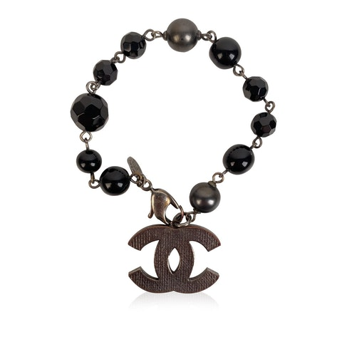 Chanel Black Beads and Silver Metal CC Logo Bracelet
