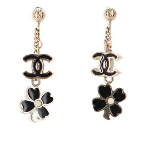 Gold-Toned 'CC' Dangle Earrings