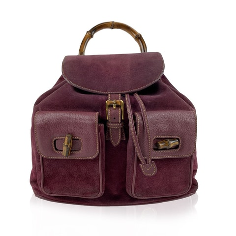 Purple Suede Leather Bamboo Backpack