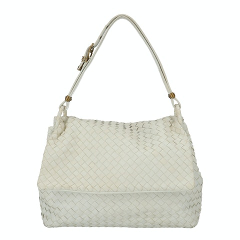 Bottega Veneta White Intrecciato Shoulder Bag