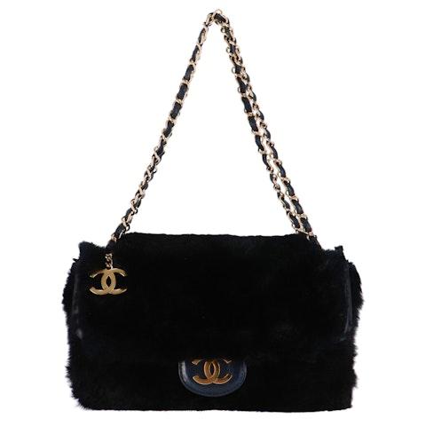Chanel Black Fur Specialty Flap Bag
