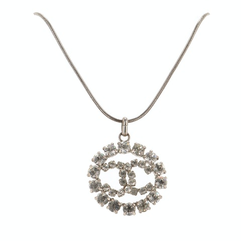 Silver-Toned Large 'CC' Rhinestone Necklace
