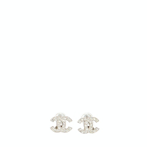 Chanel Silver 'CC' Rhinestone Earrings