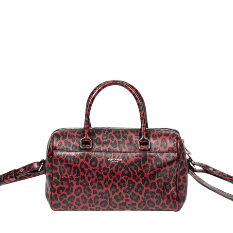 Limited Edition Leopard Print Duffle 6  in Dark Red/Black Calf Leather