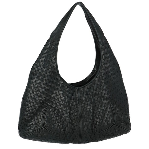 Bottega Veneta Black Medium Intrecciato Hobo Bag