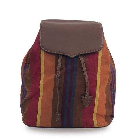 Multicolor Striped Fabric Backpack